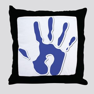 Hand Print Blue Large Throw Pillow