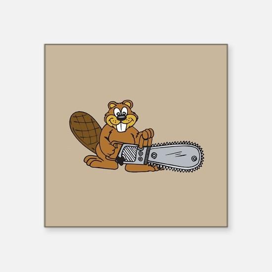 "Chainsaw Beaver Square Sticker 3"" x 3"""