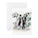 fashion figures & dog Greeting Cards (Pk of 10)