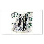 fashion figures & dog Sticker (Rectangle 10 pk)