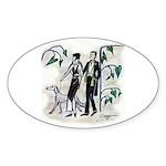 fashion figures & dog Sticker (Oval 10 pk)
