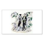 fashion figures & dog Sticker (Rectangle)
