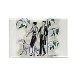 fashion figures & dog Rectangle Magnet (100 pack)