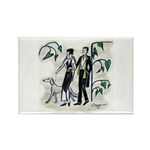 fashion figures & dog Rectangle Magnet (10 pack)