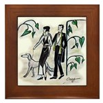 fashion figures & dog Framed Tile