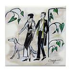 fashion figures & dog Tile Coaster