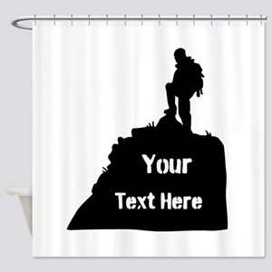 Hiking Climbing. Your Text. Shower Curtain