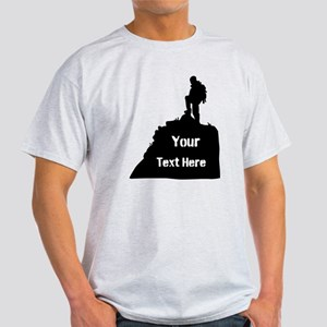 Hiking Climbing. Your Text. Light T-Shirt