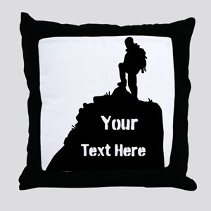 Hiking Climbing. Your Text. Throw Pillow
