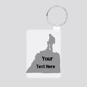 Hiking. Your Own Text. Aluminum Photo Keychain