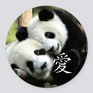 Chinese Loving Little Pandas Round Car Magnet