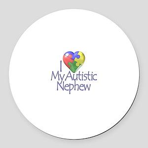 My Autistic Nephew Round Car Magnet