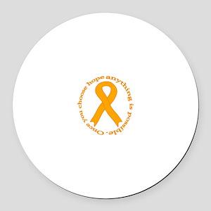 Orange Hope Round Car Magnet