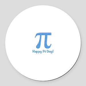 Blue Plaid Pi Day Round Car Magnet