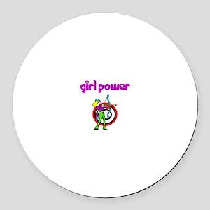 Girl Power Archery Round Car Magnet