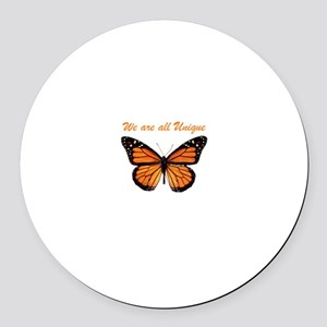 We Are All Unique: Butterfly Round Car Magnet