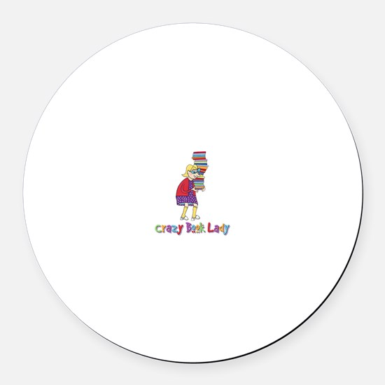 Crazy Book Lady Round Car Magnet
