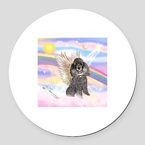 Silver Poodle Angel Round Car Magnet