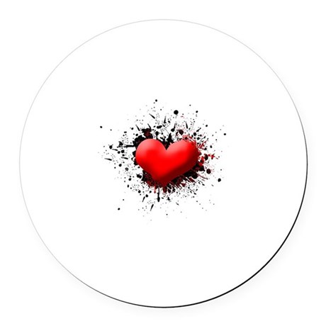 Heart Splat Round Car Magnet