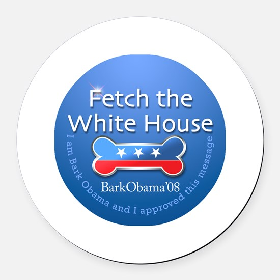 Bark Obama Fetch the White House Round Car Magnet