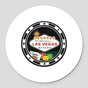 Las Vegas Poker Chip Design Round Car Magnet