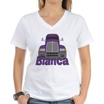 Trucker Bianca Women's V-Neck T-Shirt