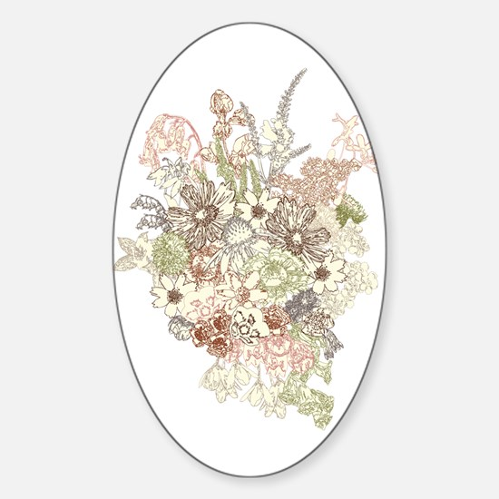 Wildflower Bouquet Sticker (Oval)