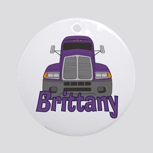 Trucker Brittany Ornament (Round)