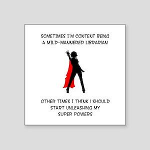 Librarian Superheroine Square Sticker