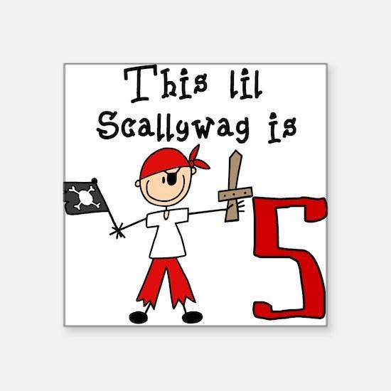 Stick Pirate 5th Birthday Square Sticker