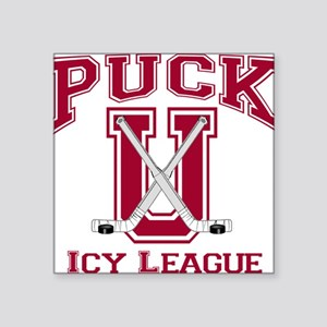 Red Puck U Hockey Square Sticker