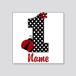 1st Birthday Ladybug Square Sticker