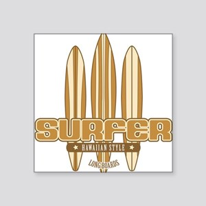 Long Board Surfer Square Sticker