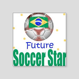 Future Soccer Star Brazil Baby Square Sticker