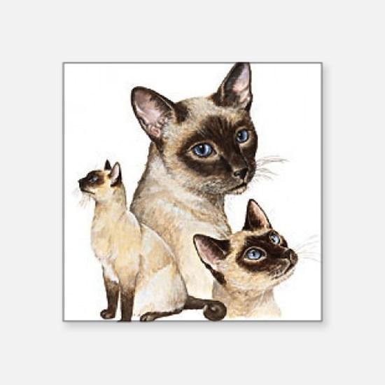 Siamese Cats Square Sticker