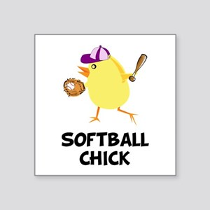 Softball Chick Square Sticker