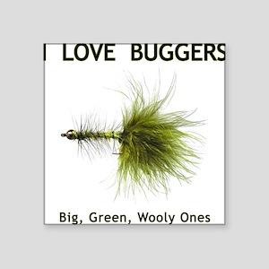 """I Love Buggers"" Grey Square Sticker"