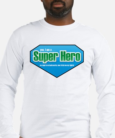 Super Hero in Green and Blue Long Sleeve T-Shirt