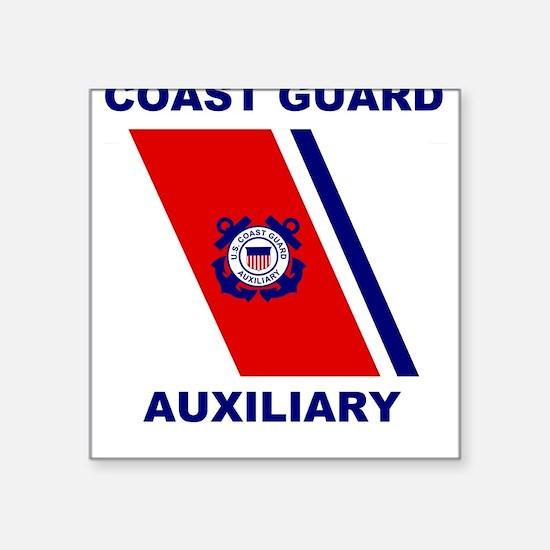 USCG Auxiliary Stripe<BR> Grey Square Sticker 2