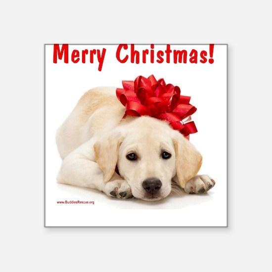 Christmas Lab Puppy Square Sticker
