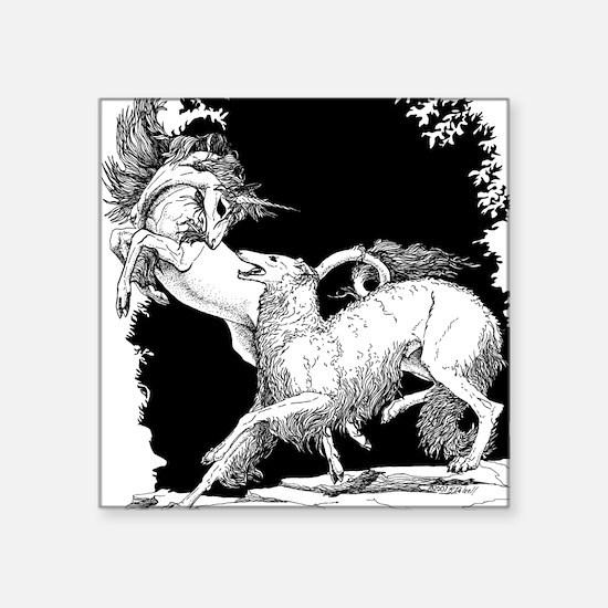 Borzoi and Unicorn<br> Square Sticker
