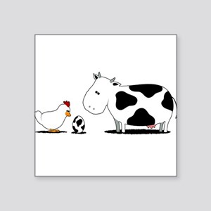 Chicken and cow egg Square Sticker