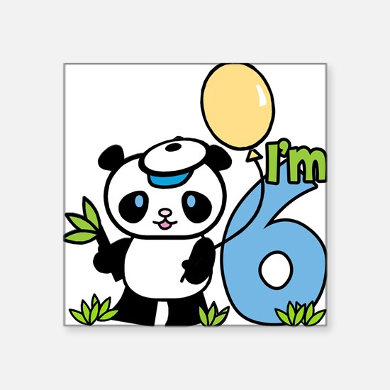 Lil' Panda Boy 6th Birthday Square Sticker