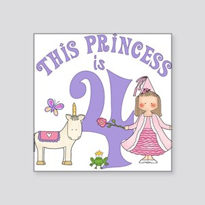 Unicorn Princess 4th Birthday Square Sticker