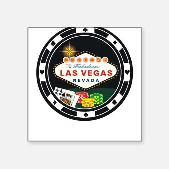 Las Vegas Poker Chip Design Square Sticker