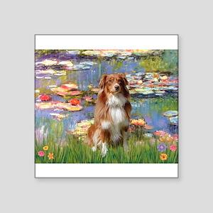 """Lilies2-Aussie Shep (#4) Square Sticker 3"""" x 3"""""""