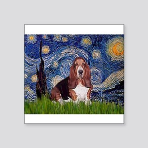 "Starry / Basset Hound Square Sticker 3"" x 3"""
