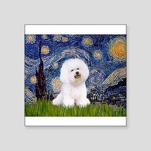 "Starry Night Bichon Square Sticker 3"" x 3"""