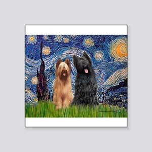 "Starry - 2 Briards Square Sticker 3"" x 3"""