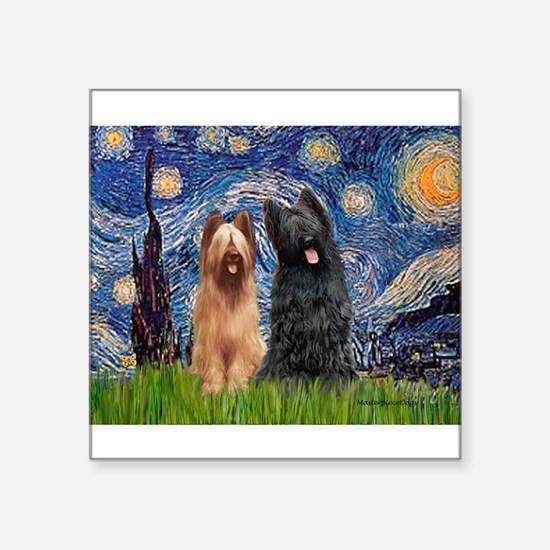 "Starry - 2 Briards Square Sticker 3"" x 3"""
